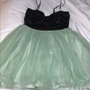 Mint and black homecoming dress